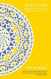 cover of Be My Guest with decorative blue and yellow illustrated plate on bright yellow background